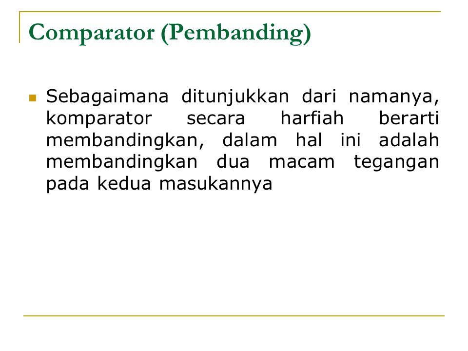 Comparator (Pembanding) Sebagaimana ditunjukkan dari namanya, komparator secara harfiah berarti membandingkan, dalam hal ini adalah membandingkan dua