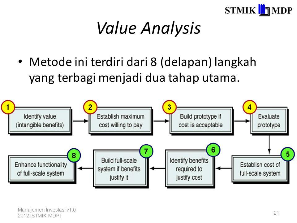 Value Analysis Metode ini terdiri dari 8 (delapan) langkah yang terbagi menjadi dua tahap utama. Manajemen Investasi v1.0 2012 [STMIK MDP] 21