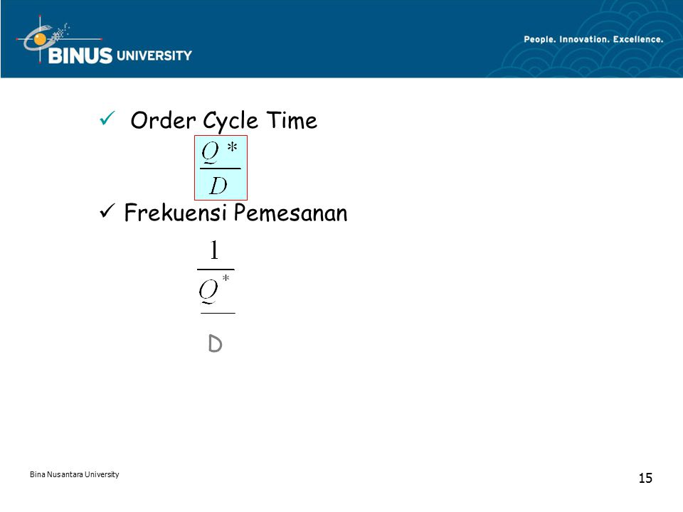 Order Cycle Time Frekuensi Pemesanan D Bina Nusantara University 15