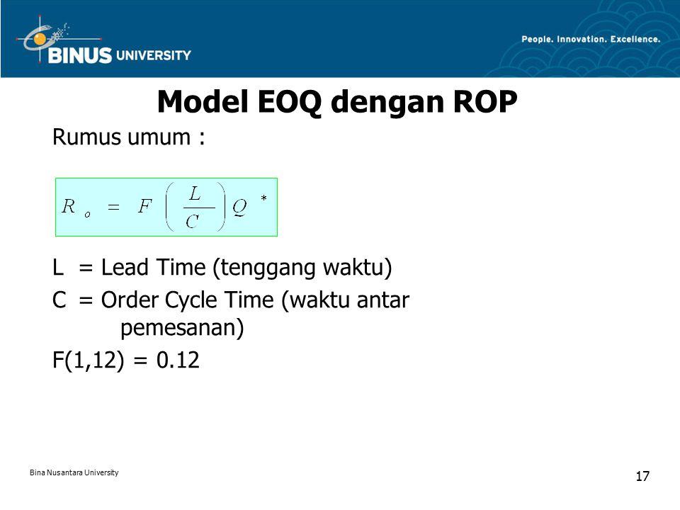 Model EOQ dengan ROP Rumus umum : L= Lead Time (tenggang waktu) C= Order Cycle Time (waktu antar pemesanan) F(1,12) = 0.12 Bina Nusantara University 17