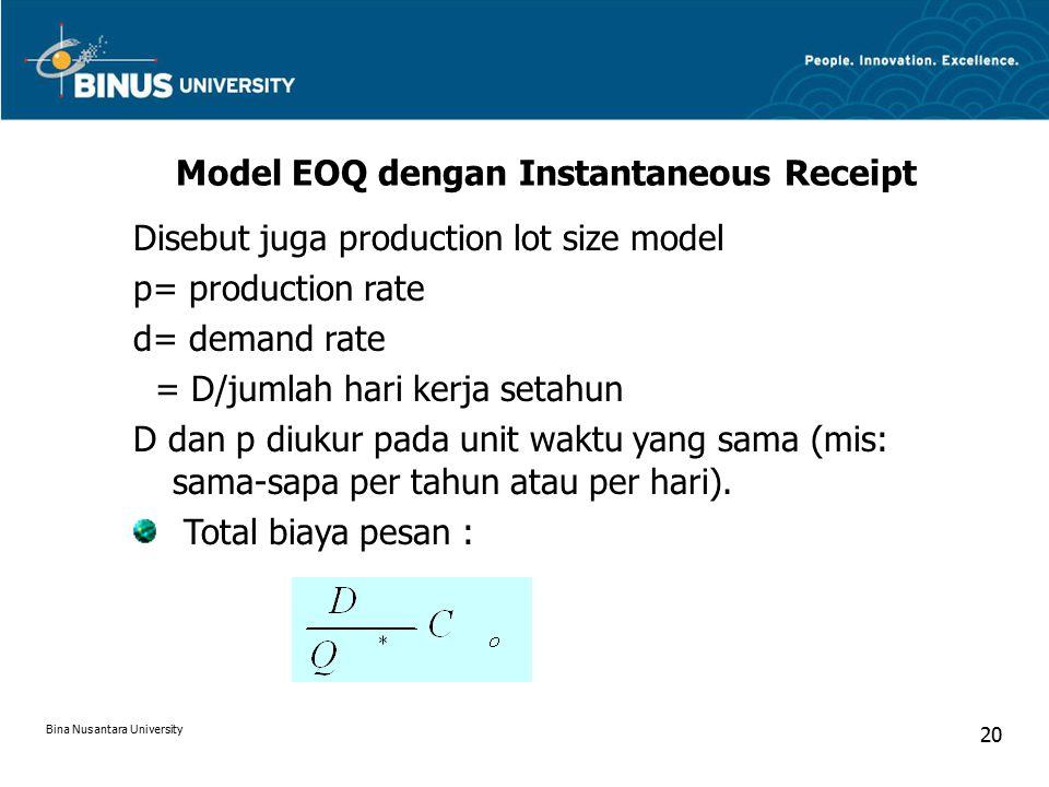 Model EOQ dengan Instantaneous Receipt Disebut juga production lot size model p= production rate d= demand rate = D/jumlah hari kerja setahun D dan p diukur pada unit waktu yang sama (mis: sama-sapa per tahun atau per hari).