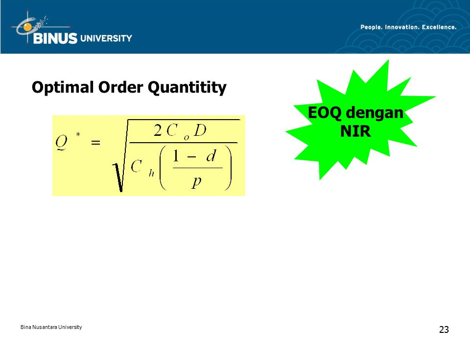 Optimal Order Quantitity EOQ dengan NIR Bina Nusantara University 23