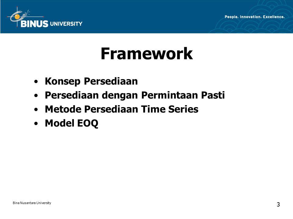 EOQ Models Biaya order per tahun Biaya Simpan per tahun Total biaya persediaan Jumlah pemesanan optimal Bina Nusantara University 14