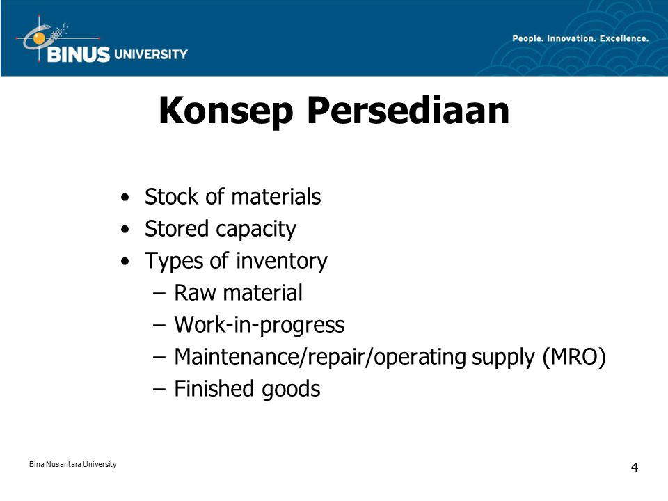Konsep Persediaan Stock of materials Stored capacity Types of inventory –Raw material –Work-in-progress –Maintenance/repair/operating supply (MRO) –Finished goods Bina Nusantara University 4