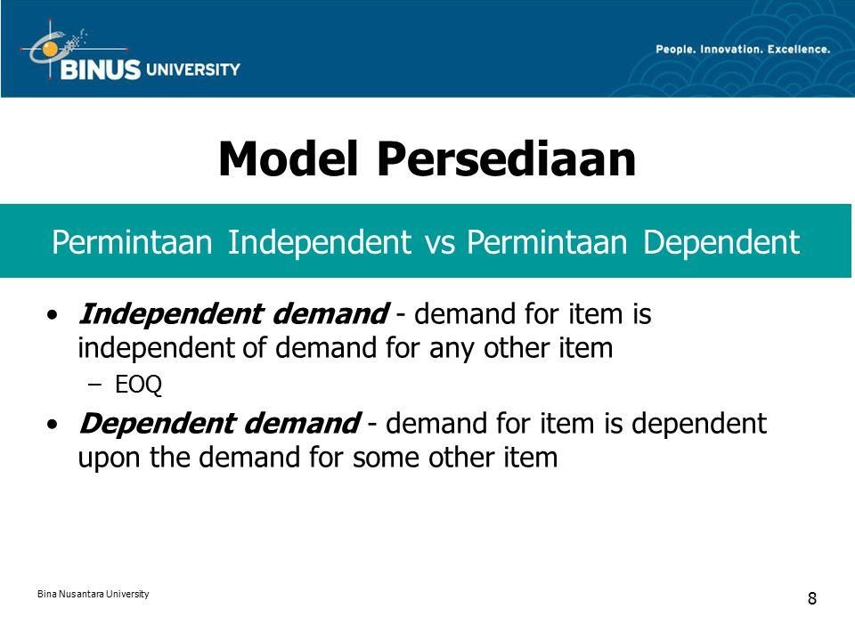 Model EOQ dengan ROP  Bila L < C Bila L > C Contoh: Bina Nusantara University 19
