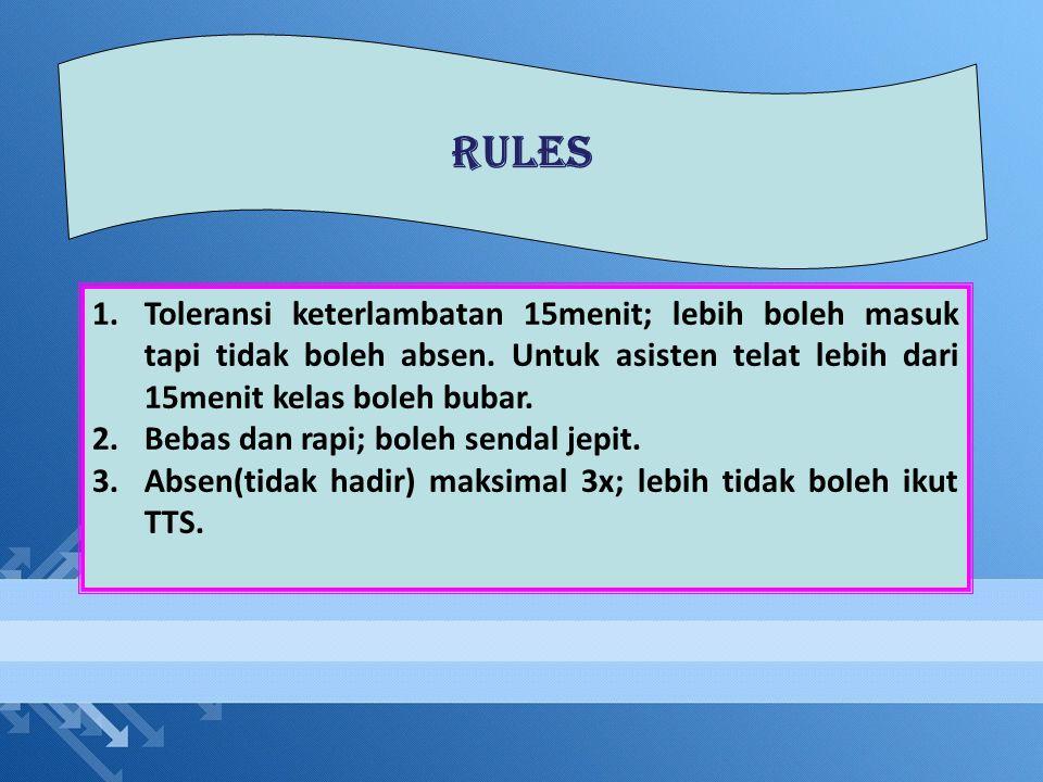 RULES 1.Toleransi keterlambatan 15menit; lebih boleh masuk tapi tidak boleh absen. Untuk asisten telat lebih dari 15menit kelas boleh bubar. 2.Bebas d