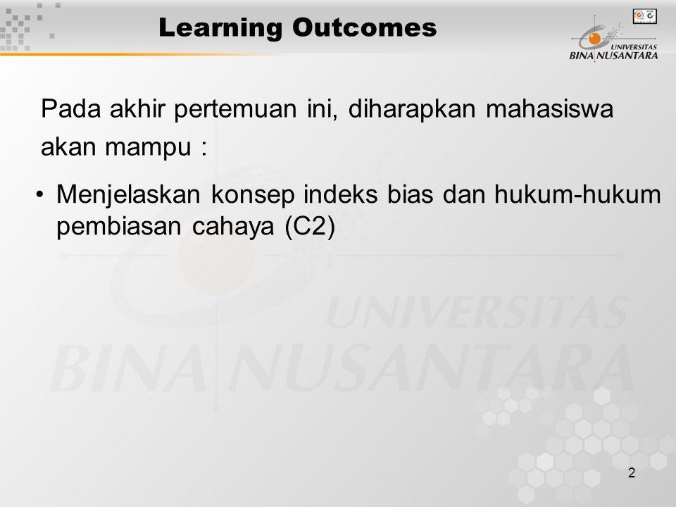 2 Learning Outcomes Pada akhir pertemuan ini, diharapkan mahasiswa akan mampu : Menjelaskan konsep indeks bias dan hukum-hukum pembiasan cahaya (C2)