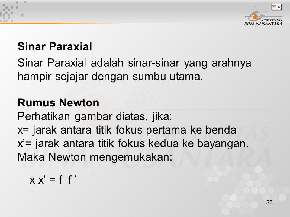 23 Sinar Paraxial Sinar Paraxial adalah sinar-sinar yang arahnya hampir sejajar dengan sumbu utama. Rumus Newton Perhatikan gambar diatas, jika: x= ja