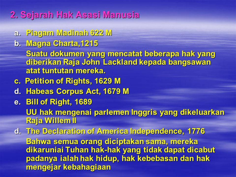 2. Sejarah Hak Asasi Manusia a.Piagam Madinah 622 M b.Magna Charta,1215 Suatu dokumen yang mencatat beberapa hak yang diberikan Raja John Lackland kep