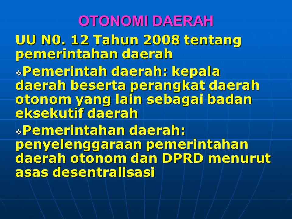 OTONOMI DAERAH UU N0. 12 Tahun 2008 tentang pemerintahan daerah  Pemerintah daerah: kepala daerah beserta perangkat daerah otonom yang lain sebagai b