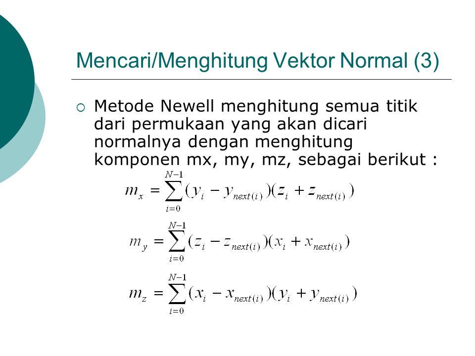 Mencari/Menghitung Vektor Normal (3)  Metode Newell menghitung semua titik dari permukaan yang akan dicari normalnya dengan menghitung komponen mx, m