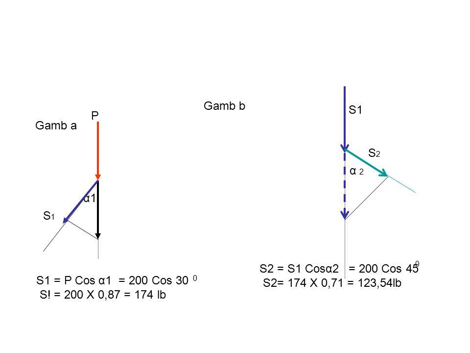 S1S1 S1 = P Cos = 200 Cos 30 S! = 200 X 0,87 = 174 lb α1 0 P α 2 S2S2 S2 = S1 Cos = 200 Cos 45 S2= 174 X 0,71 = 123,54lb α2 0 Gamb a Gamb b S1