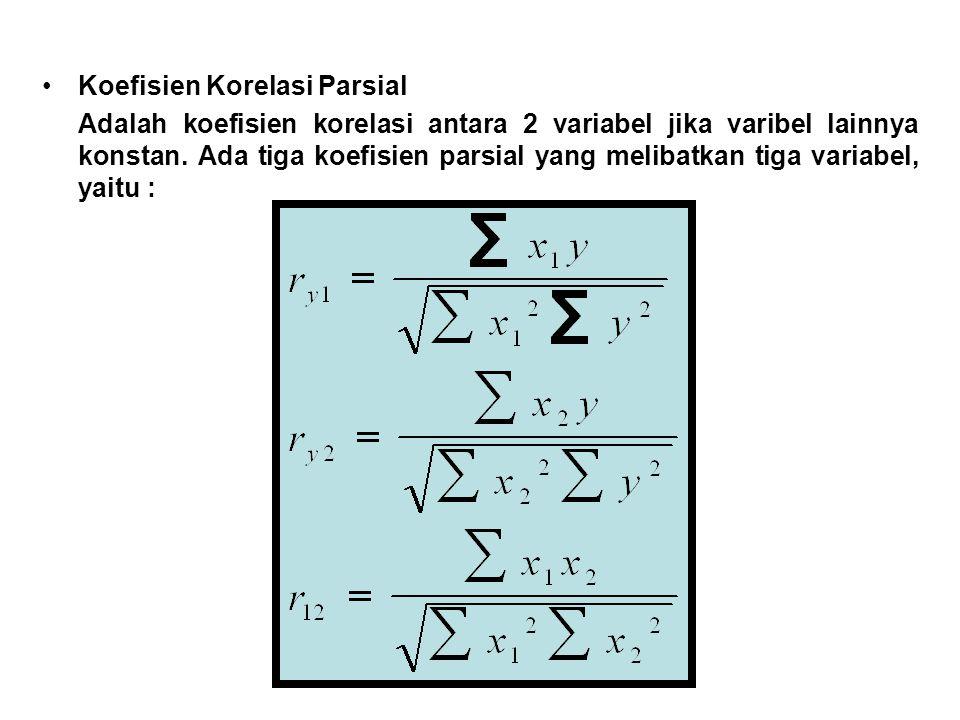Koefisien Korelasi Parsial Adalah koefisien korelasi antara 2 variabel jika varibel lainnya konstan. Ada tiga koefisien parsial yang melibatkan tiga v