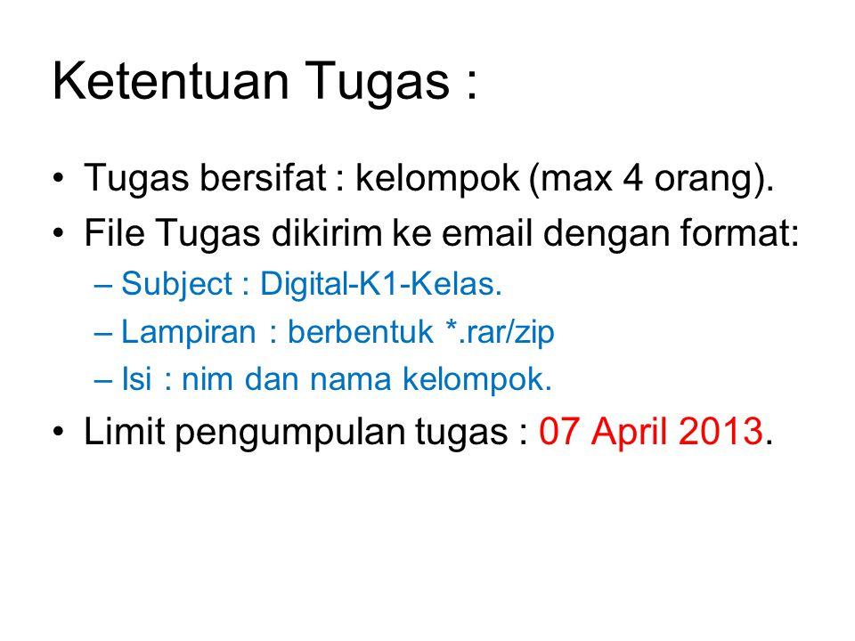 Ketentuan Tugas : Tugas bersifat : kelompok (max 4 orang). File Tugas dikirim ke email dengan format: –Subject : Digital-K1-Kelas. –Lampiran : berbent