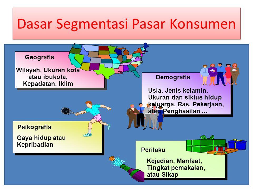 Prosedur Segmentasi Pasar ¶Survei – Motivasi – Sikap – Perilaku konsumen ·Analisis – Faktor-faktor – Kelompok-kelompok ¸Pembentukan ¶Survei – Motivasi