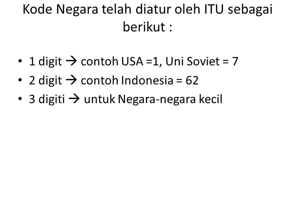 Kode Negara telah diatur oleh ITU sebagai berikut : 1 digit  contoh USA =1, Uni Soviet = 7 2 digit  contoh Indonesia = 62 3 digiti  untuk Negara-ne
