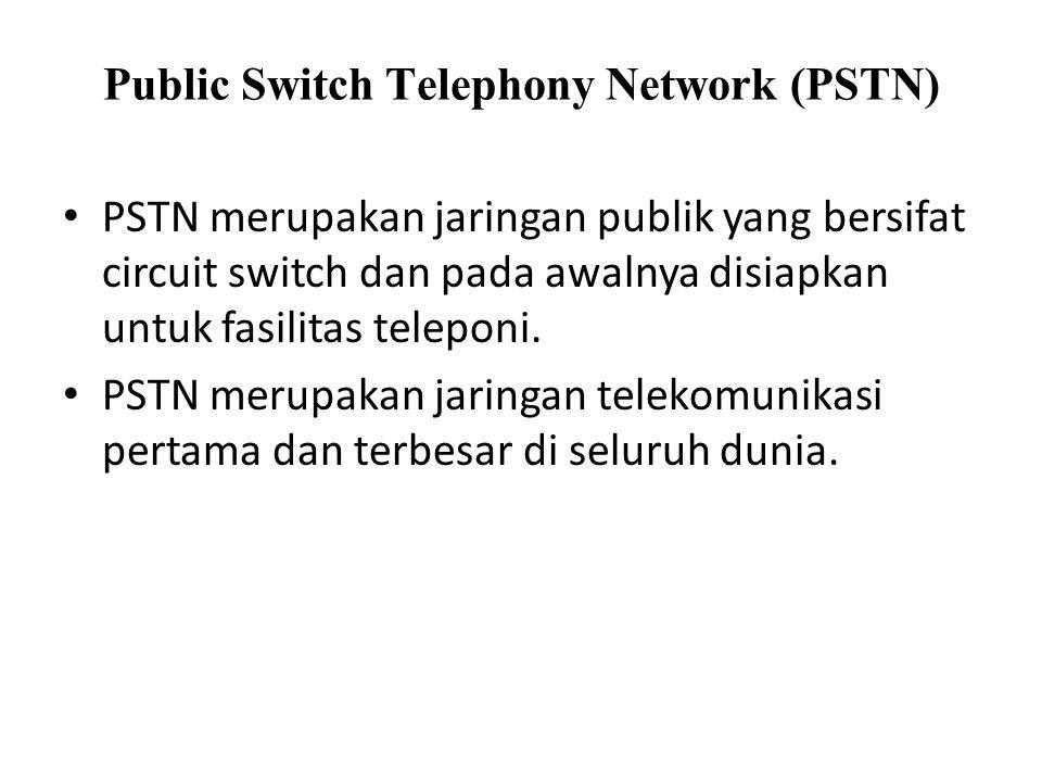 Public Switch Telephony Network (PSTN) PSTN merupakan jaringan publik yang bersifat circuit switch dan pada awalnya disiapkan untuk fasilitas teleponi