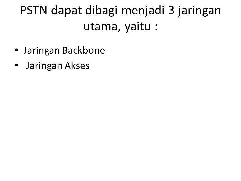 PSTN dapat dibagi menjadi 3 jaringan utama, yaitu : Jaringan Backbone Jaringan Akses