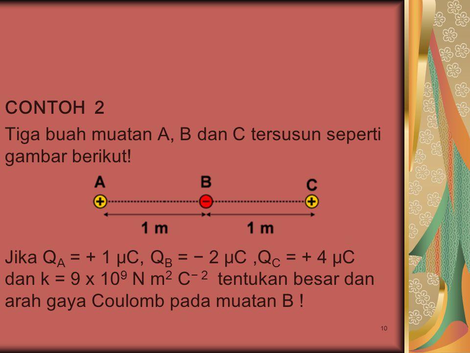 10 CONTOH 2 Tiga buah muatan A, B dan C tersusun seperti gambar berikut! Jika Q A = + 1 μC, Q B = − 2 μC,Q C = + 4 μC dan k = 9 x 10 9 N m 2 C − 2 ten