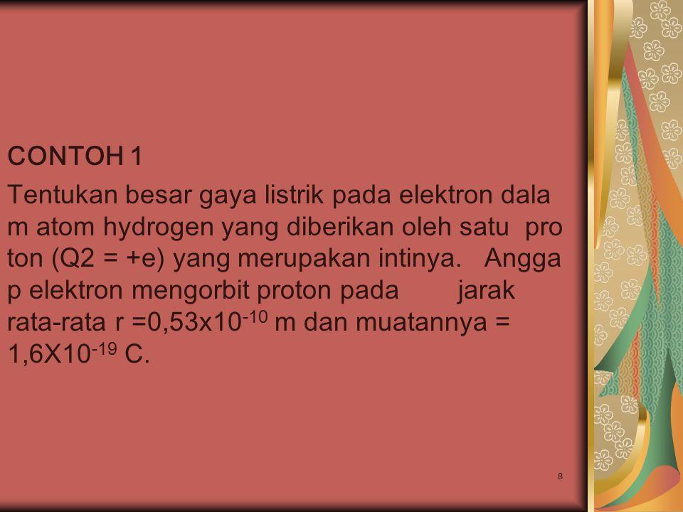 8 CONTOH 1 Tentukan besar gaya listrik pada elektron dala m atom hydrogen yang diberikan oleh satu pro ton (Q2 = +e) yang merupakan intinya. Angga p e