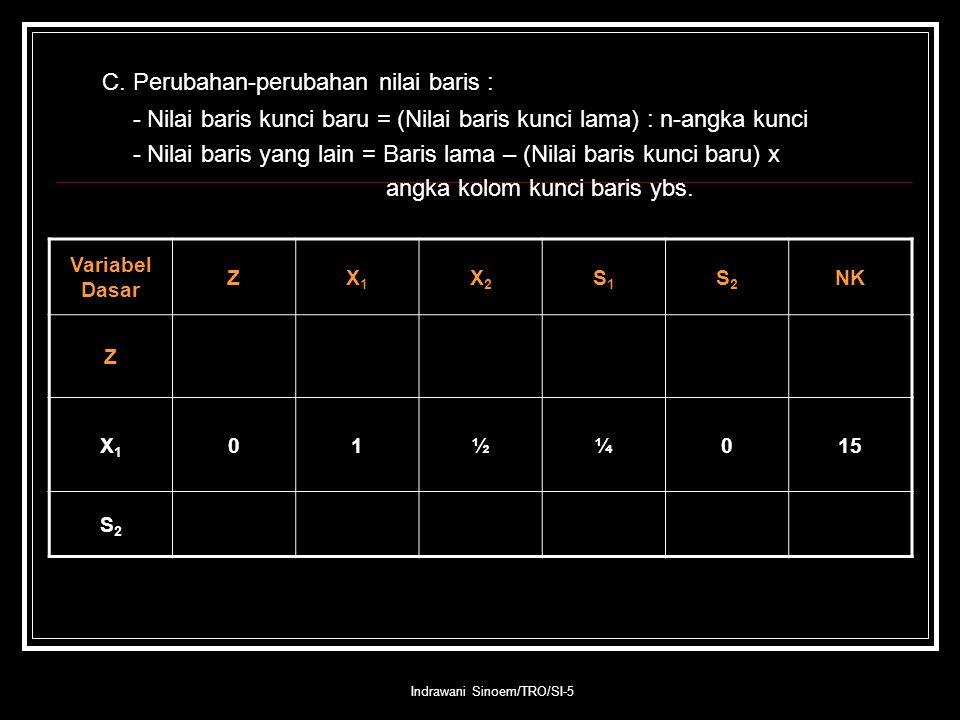 Indrawani Sinoem/TRO/SI-5 C. Perubahan-perubahan nilai baris : - Nilai baris kunci baru = (Nilai baris kunci lama) : n-angka kunci - Nilai baris yang