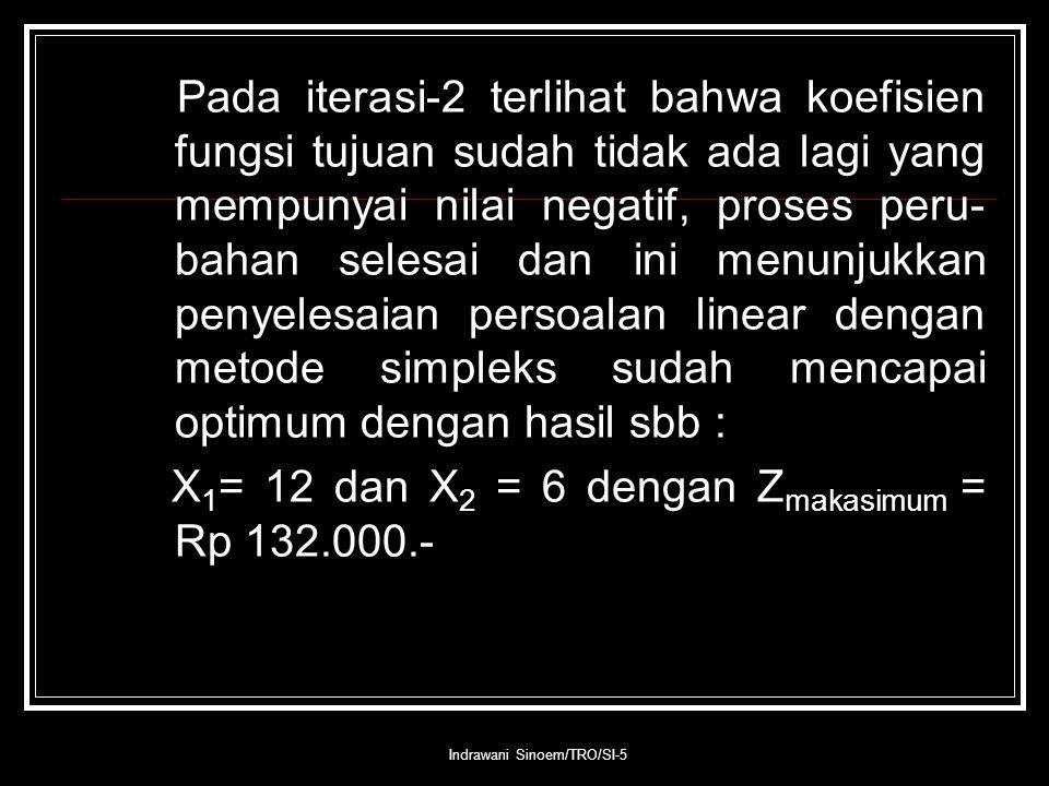 Indrawani Sinoem/TRO/SI-5 Pada iterasi-2 terlihat bahwa koefisien fungsi tujuan sudah tidak ada lagi yang mempunyai nilai negatif, proses peru- bahan selesai dan ini menunjukkan penyelesaian persoalan linear dengan metode simpleks sudah mencapai optimum dengan hasil sbb : X 1 = 12 dan X 2 = 6 dengan Z makasimum = Rp 132.000.-