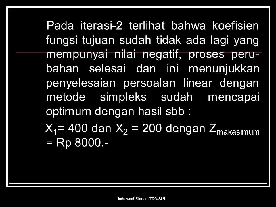 Indrawani Sinoem/TRO/SI-5 Pada iterasi-2 terlihat bahwa koefisien fungsi tujuan sudah tidak ada lagi yang mempunyai nilai negatif, proses peru- bahan selesai dan ini menunjukkan penyelesaian persoalan linear dengan metode simpleks sudah mencapai optimum dengan hasil sbb : X 1 = 400 dan X 2 = 200 dengan Z makasimum = Rp 8000.-