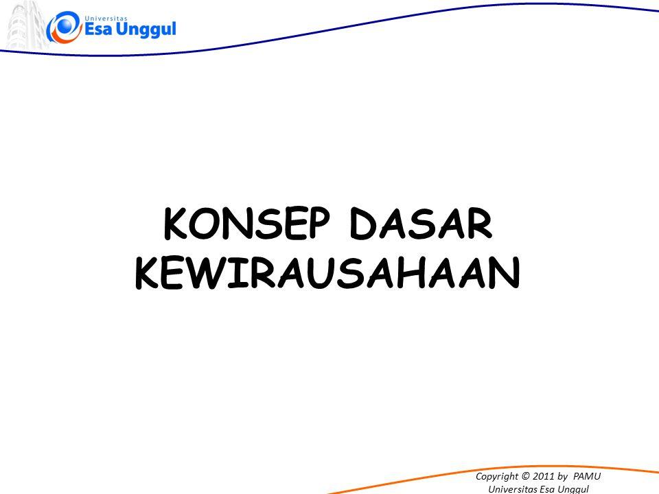 Copyright © 2011 by PAMU Universitas Esa Unggul Wirausaha adalah mereka yang melakukan upaya-upaya kreatif dan inovatif dengan jalan mengembangkan ide, dan meramu sumberdaya untuk menemukan peluang dan perbaikan hidup KATA KUNCI KEWIRAUSAHAAN KREATIF & INOVATIF