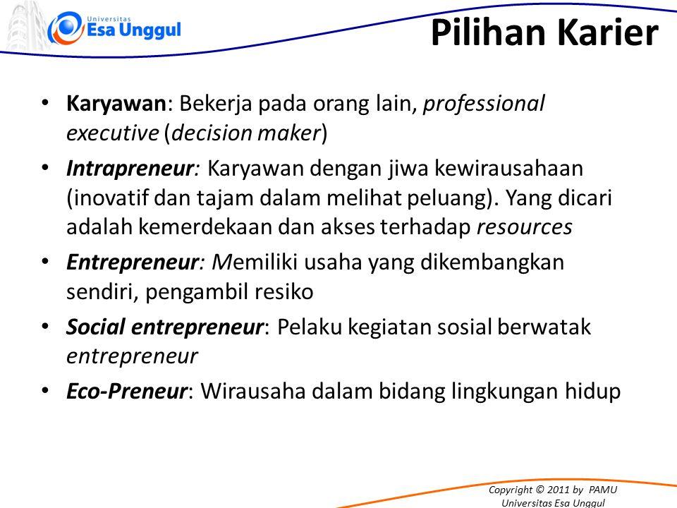Copyright © 2011 by PAMU Universitas Esa Unggul Pilihan Karier Karyawan: Bekerja pada orang lain, professional executive (decision maker) Intrapreneur