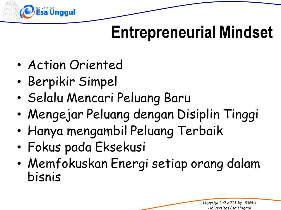 Copyright © 2011 by PAMU Universitas Esa Unggul Entrepreneurial Mindset Action Oriented Berpikir Simpel Selalu Mencari Peluang Baru Mengejar Peluang d