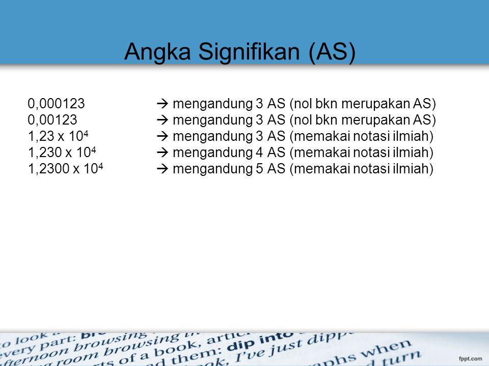 Angka Signifikan (AS) 0,000123  mengandung 3 AS (nol bkn merupakan AS) 0,00123  mengandung 3 AS (nol bkn merupakan AS) 1,23 x 10 4  mengandung 3 AS