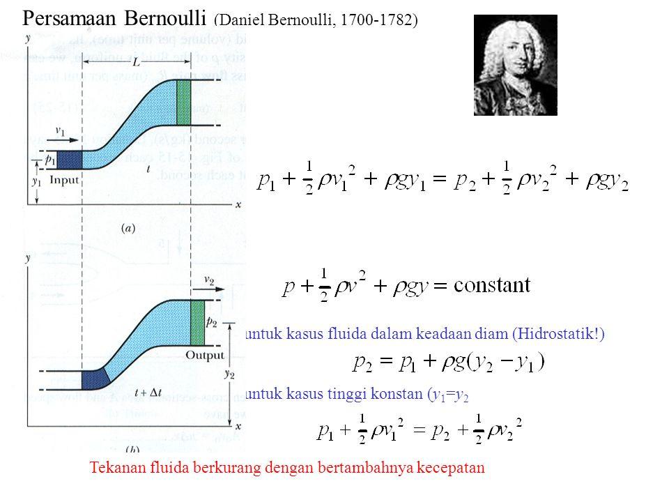 Persamaan Bernoulli (Daniel Bernoulli, 1700-1782) untuk kasus fluida dalam keadaan diam (Hidrostatik!) untuk kasus tinggi konstan (y 1 =y 2 Tekanan fluida berkurang dengan bertambahnya kecepatan
