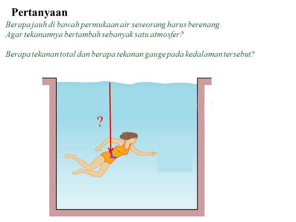Pertanyaan Berapa jauh di bawah permukaan air seseorang harus berenang Agar tekanannya bertambah sebanyak satu atmosfer.
