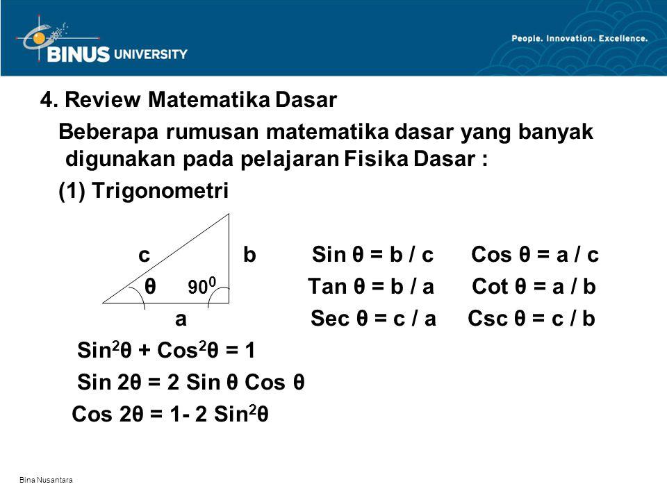 Bina Nusantara Teorema Pythagoras : a 2 + b 2 = c 2 Sin( α +β ) = Sin α Cos β + Sin β Cos α Cos( α +β ) = Cos α Cos β – Sin α Sin β (2) Rumus kuadratik Jika: a x 2 + b x + c = 0 maka :