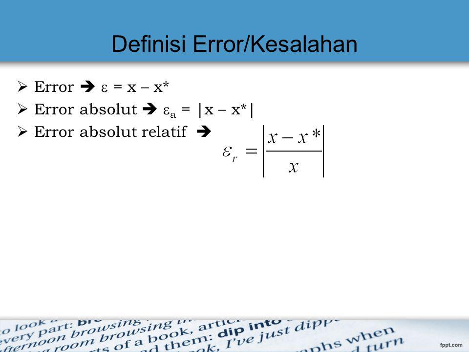 Definisi Error/Kesalahan  Error   = x – x*  Error absolut   a = |x – x*|  Error absolut relatif 