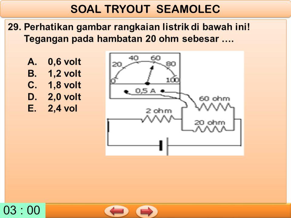 29. Perhatikan gambar rangkaian listrik di bawah ini! Tegangan pada hambatan 20 ohm sebesar …. A. 0,6 volt B. 1,2 volt C. 1,8 volt D. 2,0 volt E. 2,4