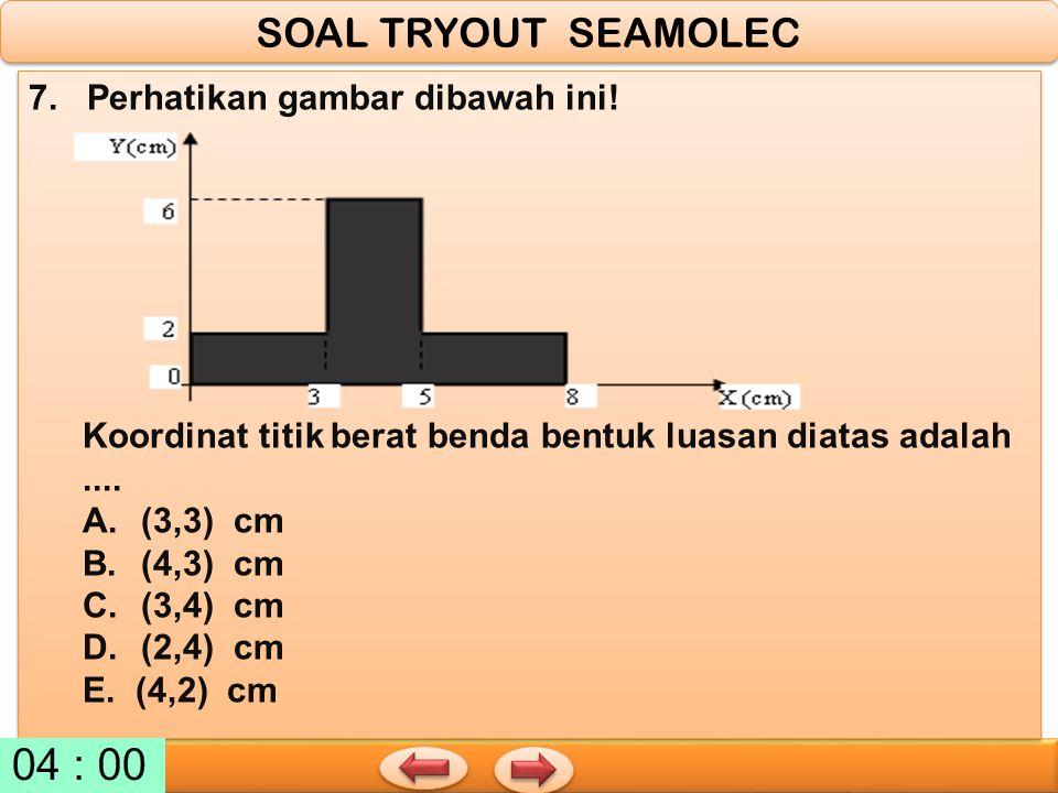 7. Perhatikan gambar dibawah ini! Koordinat titik berat benda bentuk luasan diatas adalah.... A.(3,3) cm B.(4,3) cm C.(3,4) cm D.(2,4) cm E. (4,2) cm