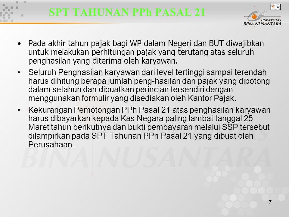 7 SPT TAHUNAN PPh PASAL 21 Pada akhir tahun pajak bagi WP dalam Negeri dan BUT diwajibkan untuk melakukan perhitungan pajak yang terutang atas seluruh