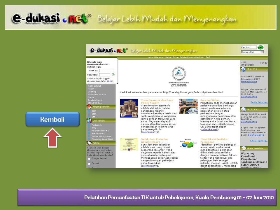Kembali Pelatihan Pemanfaatan TIK untuk Pebelajaran, Kuala Pembuang 01 - 02 Juni 2010