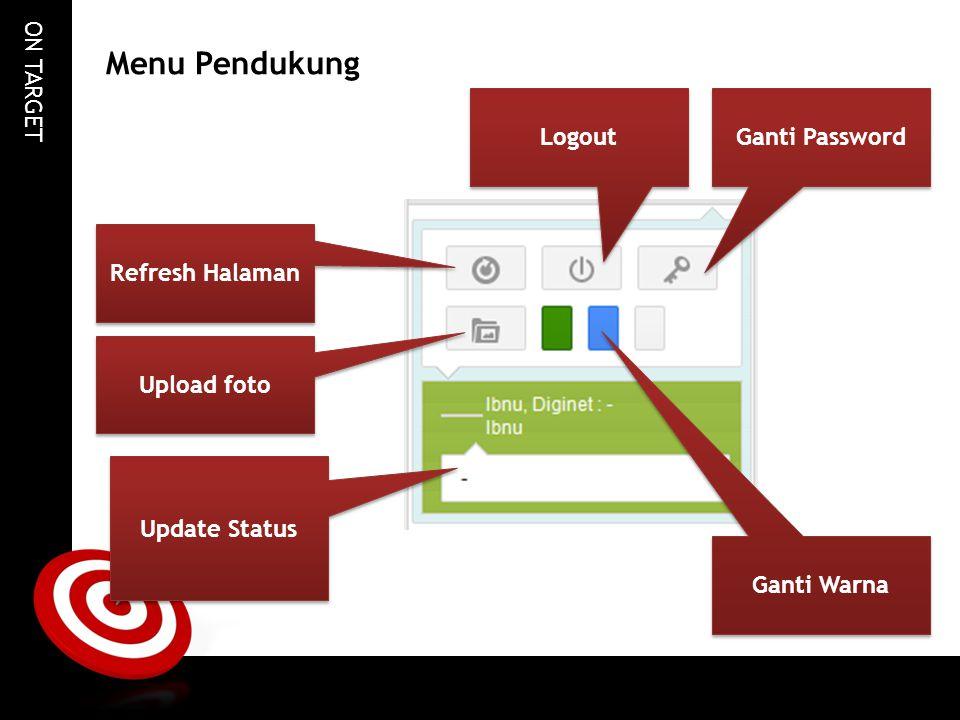 ON TARGET Menu Pendukung Refresh Halaman Logout Ganti Password Upload foto Update Status Ganti Warna
