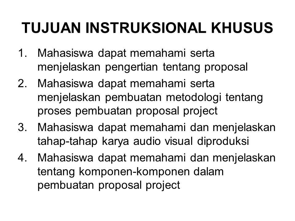 TUJUAN INSTRUKSIONAL KHUSUS 1.Mahasiswa dapat memahami serta menjelaskan pengertian tentang proposal 2.Mahasiswa dapat memahami serta menjelaskan pemb