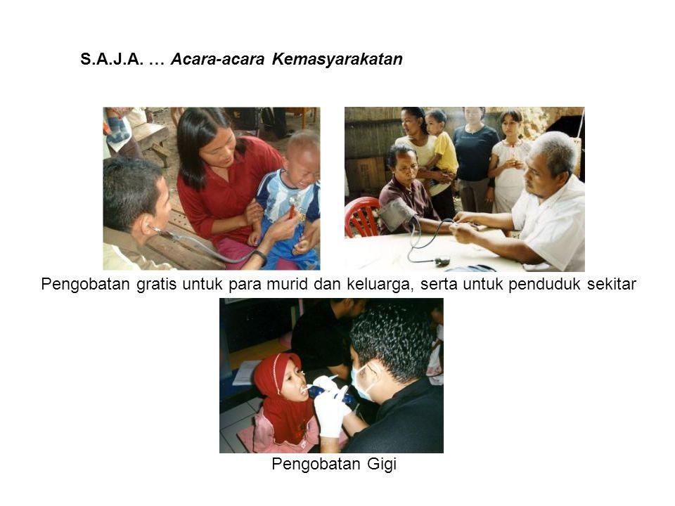 S.A.J.A. … Acara-acara Kemasyarakatan Pengobatan gratis untuk para murid dan keluarga, serta untuk penduduk sekitar Pengobatan Gigi