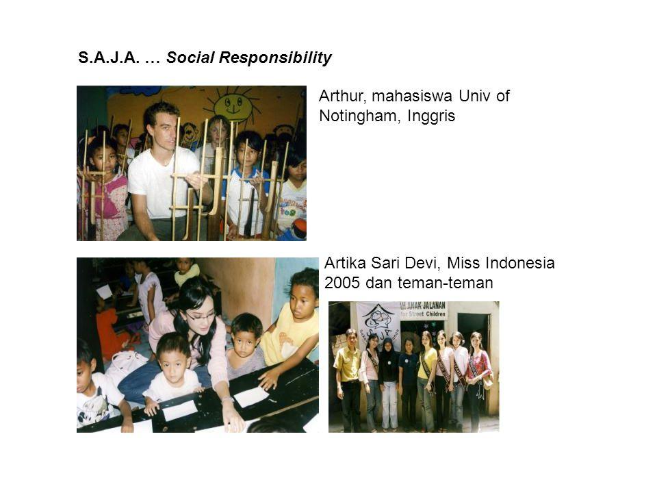 S.A.J.A. … Social Responsibility Artika Sari Devi, Miss Indonesia 2005 dan teman-teman Arthur, mahasiswa Univ of Notingham, Inggris