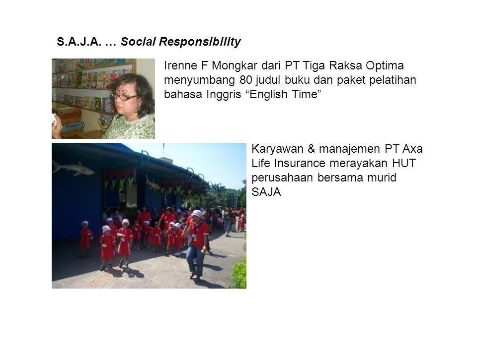 "S.A.J.A. … Social Responsibility Irenne F Mongkar dari PT Tiga Raksa Optima menyumbang 80 judul buku dan paket pelatihan bahasa Inggris ""English Time"""