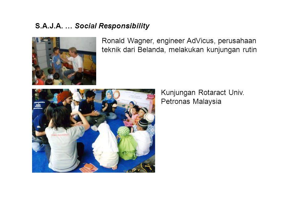 S.A.J.A. … Social Responsibility Ronald Wagner, engineer AdVicus, perusahaan teknik dari Belanda, melakukan kunjungan rutin Kunjungan Rotaract Univ. P