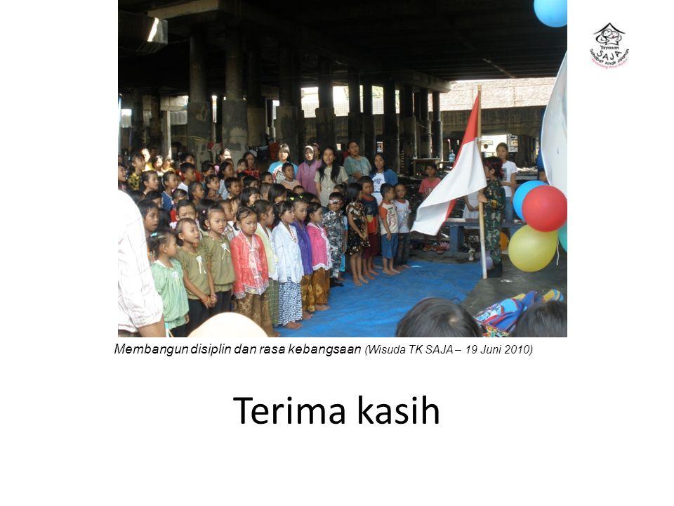 Terima kasih Membangun disiplin dan rasa kebangsaan (Wisuda TK SAJA – 19 Juni 2010)