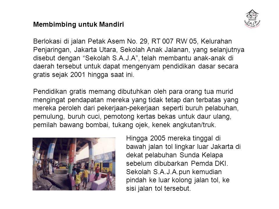 Membimbing untuk Mandiri Berlokasi di jalan Petak Asem No. 29, RT 007 RW 05, Kelurahan Penjaringan, Jakarta Utara, Sekolah Anak Jalanan, yang selanjut