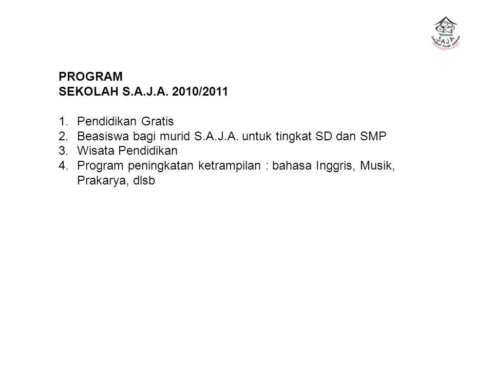 PROGRAM SEKOLAH S.A.J.A. 2010/2011 1.Pendidikan Gratis 2.Beasiswa bagi murid S.A.J.A. untuk tingkat SD dan SMP 3.Wisata Pendidikan 4.Program peningkat