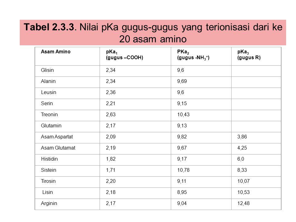 Tabel 2.3.3. Nilai pKa gugus-gugus yang terionisasi dari ke 20 asam amino Asam AminopKa 1 (gugus –COOH) PKa 2 (gugus -NH 3 + ) pKa 3 (gugus R) Glisin2