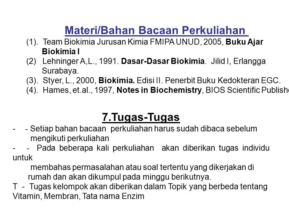 Materi/Bahan Bacaan Perkuliahan (1). Team Biokimia Jurusan Kimia FMIPA UNUD, 2005, Buku Ajar Biokimia I (2) Lehninger A,L., 1991. Dasar-Dasar Biokimia